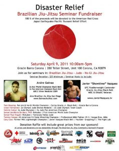 Disaster Relief – Fundraiser for Japan – 4/9 12-5pm at Gracie Barra Corona CA