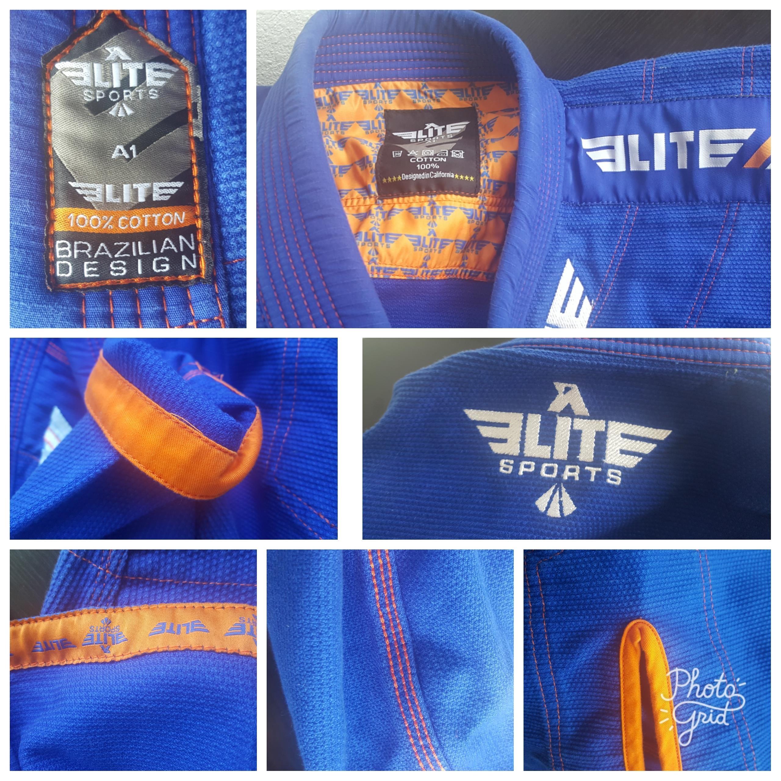 Elite Sports Ultra-Light BJJ Jiu Jitsu Gi with Pre-Shrunk Fabric – Blue